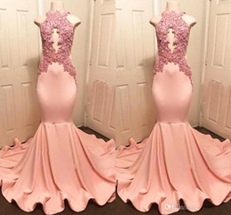2019 Real Photos High Neck Peach Pink Mermaid Prom Dresses Sexy Keyhole Appliqued Top Ruffles Train Long Evening Gowns Vestidos BC1159