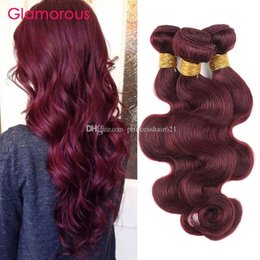 Glamorous 4 Pieces Remy Human Hair Bundles Burgundy Body Wave Straight Human Hair Weave Peruvian Indian Malaysian Brazilian Hair Extensions