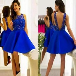 Simple Cocktail Dress A-line Jewel Sleeveless Knee Length Backless Lace Sequin Beading Stain Cheap Homecoming Dresses