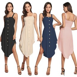 Women's Sexy Casual Beach Dress Sleeveless Square Neck A-Line Midi Sundress Solid Cotton Button Down Slip Dresses DYH1202