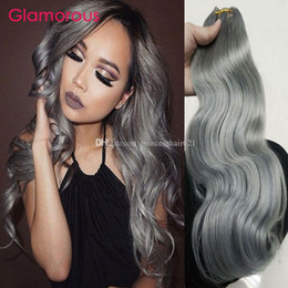 Glamorous Grey Human Hair Weave 3Pcs Brazilian Body Wave Straight Hair Bundles Natural Color Peruvian Indian Malaysian Remy Hair Extensions
