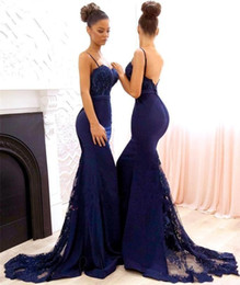 Navy Blue Beaded Lace Bridesmaid Dresses 2020 Spaghetti Straps Satin Mermaid Long Maid of Honor Gowns Sweep Train Formal Wedding Party Gowns