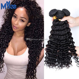 "MikeHAIR Brazilian Deep Wave Hair Weave 3 Bundles Unprocessed Peruvian Malaysian Indian Human Hair 8""-30"" Deep Curly Natural Hair Extensions"