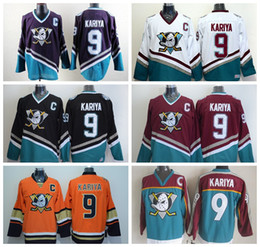 Mighty Ducks 9 Paul Kariya Jersey Ice Hockey Sport Anaheim Ducks Stadium Series 1993 Movie Green Mighty Purple Red Black White Orange Black
