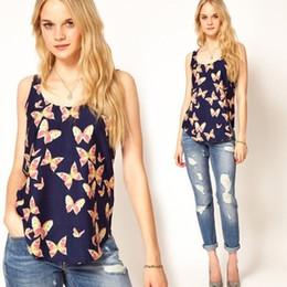 Fashion spring summer chiffon tops butterfly print lady blouse O neck sleeveless womens chiffon blouse