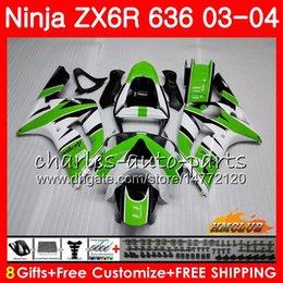 Body For KAWASAKI NINJA green stock ZX600 ZX636 ZX-6R 03 04 ZX-636 36HC.15 ZX 636 6 R 600CC ZX6R 03 04 ZX 600 ZX 6R 2003 2004 Fairing kit