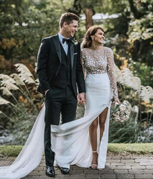 Long Sleeve Sheer High Neckline boho Wedding Dresses 2019 A Line White Lace Tulle Bridal Gowns Fashion Vestido De Noiva Nigerian Arabic
