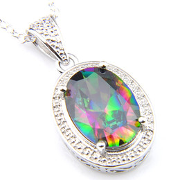 2019 NEW Luckyshine 10*14mm 5pcs Lot Hot Sale Oval Mystic Topaz Gemstone Vintage Silver Pendant American Weddings Jewelry Gift With Chain