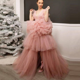 Tiered Ball Gown Tulle Prom Dresses V-Neck Hi-Lo Formal Evening Dresses Ruffle Zipper Back Free Ship Evening GOWNS