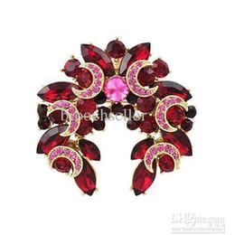 Gold Dark Red & Hot Pink Rhinestone Crystal Star and Moon Wreath Brooch