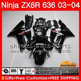 Body For KAWASAKI NINJA ZX600 ZX636 ZX-6R 03 04 ZX-636 36HC.0 ZX 636 6 R 600CC ZX6R 03 04 ZX 600 ZX 6R 2003 2004 Fairing kit Glossy black