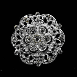 1.3 Inch Sparkly Silver Plated Clear Rhinestone Crystal Diamante Small Round Flower Brooch Pins Bridal Accessory