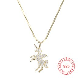 2019 new solid 925 sterling silver necklace charm gold plated unicorn necklace China high quality low prices wholesale