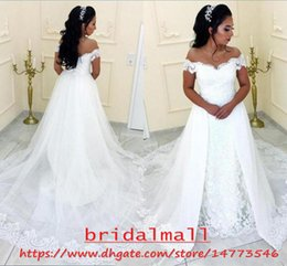 Plus Size 2019 Appliqued Lace African Wedding Dresses Mermaid With Overskirt Off Shoulder Country Boho Arabic Bridal Gowns Detachable Train