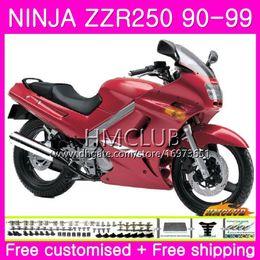 Bodywork For KAWASAKI NINJA ZZR-250 ZZR250 90 91 92 93 94 99 75HM.0 ZZR 250 1990 1991 1992 1993 1994 1999 Full Fairings kit Glossy red Hot