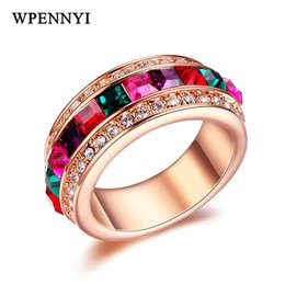 Rose Gold Color Top Quality Multicolour Square Austrian Crystals Rainbow Design Women Finger Rings Cocktail Party Wholesale