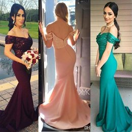 2020 Satin Bridesmaid Dresses Off the Shoulder V Neck Sequin Top Backless Formal Party Evening Gowns Pageant Mermaid Prom Dress