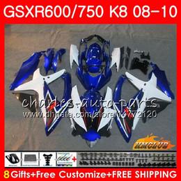 Bodys For SUZUKI GSXR 600 750 GSX R750 R600 GSXR600 blue white new 08 09 10 9HC.60 GSX-R750 GSXR-600 K8 GSXR750 2008 2009 2010 Fairing kit