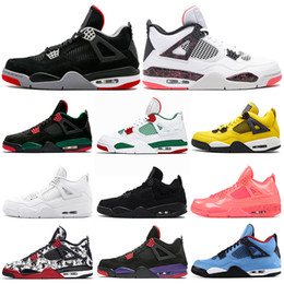 2019 New Bred 4s Men Basketball Shoes 4 Pale Citron Pizzeria Hot Punch Lightning LASER Oreo Singles Day Tattoo Trainer Sports Sneakers 7-13