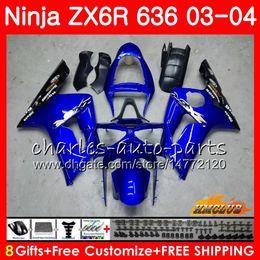 Body For KAWASAKI NINJA ZX600 ZX636 ZX-6R 03 04 ZX-636 36HC.11 ZX 636 6 R 600CC ZX6R 03 04 ZX 600 ZX 6R 2003 2004 Fairing kit stock blue hot