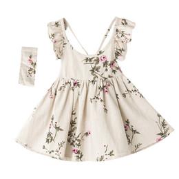 Retail kids designer girls dresses Flax Floral Dress With Headbands Summer Peach blossom flouncing Backless suspender Vest Princess Dress