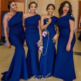 Elegant Royal Blue Sexy One Shoulder Long Bridesmaid Dresses Nigerian African Mermaid Plus Size Maid of Honor Gowns for Weddings
