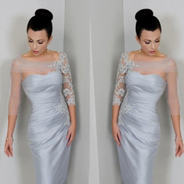 Modest Silver Mother of the Bride Dress Sheer Sleeves Bateau Neck Appliques Lace Tulle Satin Knee Length Short Party Gowns Custom Size