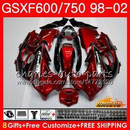 Dark red blk Body For SUZUKI KATANA GSXF 750 600 GSXF600 98 99 00 01 02 2HC.21 GSX750F GSX600F GSXF750 1998 1999 2000 2001 2002 Fairing kit