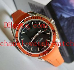 Topselling Planet Ocean Co-Axial Stainless steel Orange Bezel Automatic Mens Watch Black Dial Men's Sport WristWatches Rubber Band