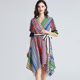 Women's Designer Runway Dresses Turn Down Collar Short Sleeves Printed Fashion Asymmetrical Casual Dresses with Sash Belt