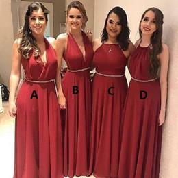 Custom Made Burgundy Bridesmaids Dresses 2019 Crystal Sash V-neck Maid Of Honor Dress Vestidos De Party Prom Evening Gowns Wedding Guest