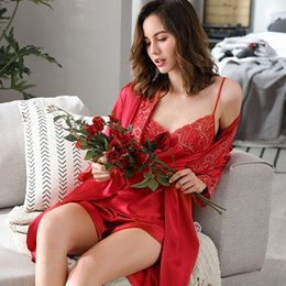 2019 Latest Festive Red Bride Ice Silk Sexy Pajama Sets Three-Piece Female Spring Summer Sling Shorts Home Wear Woman X3215