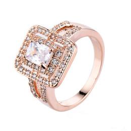 Luckyshine Wholesale 6 Pcs Lot Fashion Simple Design Zircon Rings Rose Gold White Women Weddiing Rings Jewelry New
