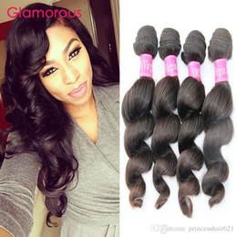 Glamorous Peruvian Loose Wave Remy Hair Extensions 4 Bundles Malaysian Indian Peruvian Human Hair Weaves Cheap Brazilian Virgin Hair Bundles