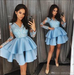 Light Blue V Neck Lace A Line Homecoming Dresses Long Sleeves Applique Tiered Layers Short Party Cocktail Prom Dresses