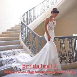 Spaghetti Straps 2019 Appliqued Lace Mermaid Wedding Dresses See Through Satin Bridal Gowns Plus Size Custom Wedding Dress Vestidos De Novia