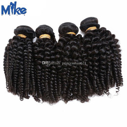 MikeHAIR Mongolian Hair Extensions 4 Bundles Brazilian Indian Cambodian Mongolian Kinky Curly Hair Weaves Natural Color Double Wefted