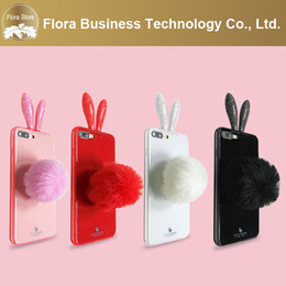 3D Soft Plush Rabbit Tail Plush Downy Ball Fluffy Fur Tail Clear TPU Phone Case for iPhone 7 8PLUS XR X M