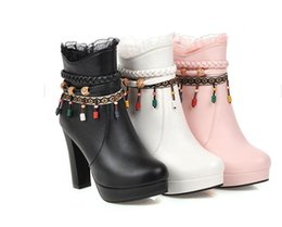 Shoe Girl Winter Sweet Girl Princess Thick-heeled High-heeled Martin Boots Thick-heeled Spring and Autumn Single-boot Girl Size 34-43