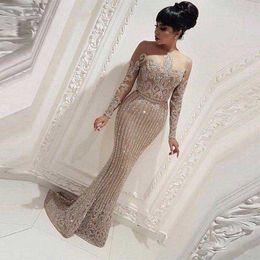 Muslim Long Sleeve Prom Dresses 2019 Luxurious Beading Parttern Formal Party Gowns abendkleider Arabic Dubai Women Robe De Soiree