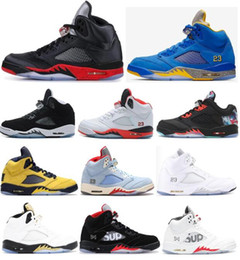 5 Satin Bred Laney Varsity Royal Blue PSG Oreo CNY Men Basketball Shoes 5s Fire Red Olympic Metallic Gold Silver Sneakers With Box