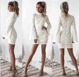 Sexy Short Country Lace Party Dresses High Neck Long Sleeve Bridesmaids Dress Cheap Cocktail Prom Party Gowns 2513