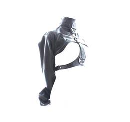 Fetish SM Bondage Black sofe Leather Restraint Straight Jacket Costume Adjustable Bondage Straitjacket for women