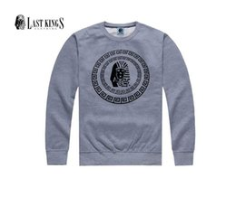 free shipping s-5xl Hoodies Last kings Plus velvet Sweatshirts street hip hop o-neck pullover outerwear mens Spell color clothing