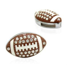 50pcs lot 8mm Rhinestones American football   Rugby sport slide charm fit 8mm wristband bracelet diy jewelry findings