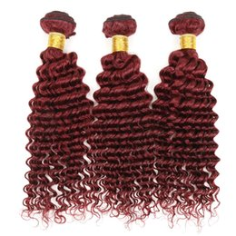 100% Virgin Indian Remy hair Extensions 3 bundles 99j Indian Curly Hair Burgundy Color Weaves Indian Deep Curly Wave Cheap Human hair