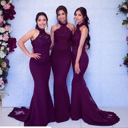 2019 Sexy Halter Lace Top Grape Mermaid Bridesmaid Dresses Satin Applique Sweep Train Wedding Guest Maid Of Honor Dresses Customize BM0906