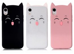 3D Cat Smile Soft Silicone Case For iPhone XS MAX XR Iph X 8 7 Plus 6 SE 5 5S Cute Lovely Colorful Pink Black Cats Gel Glitter Phone Cover