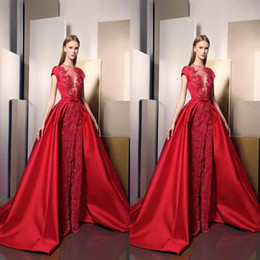 Ziad Nakad Split Evening Dresses Long Sheer Jewel Neckline Appliqued Overskirt Prom Gowns Sleeves Beaded Lace Special Occasion Dress
