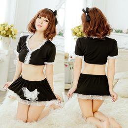 Free Shipping New sexy lingerie cosplay black professional uniform maid lace split temptation female pajamas maid game control nightdress su
